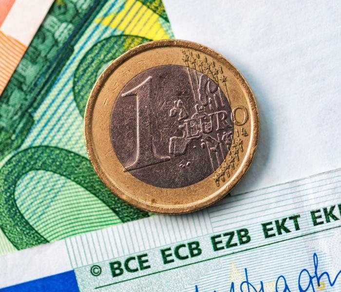 euro cash background closeup